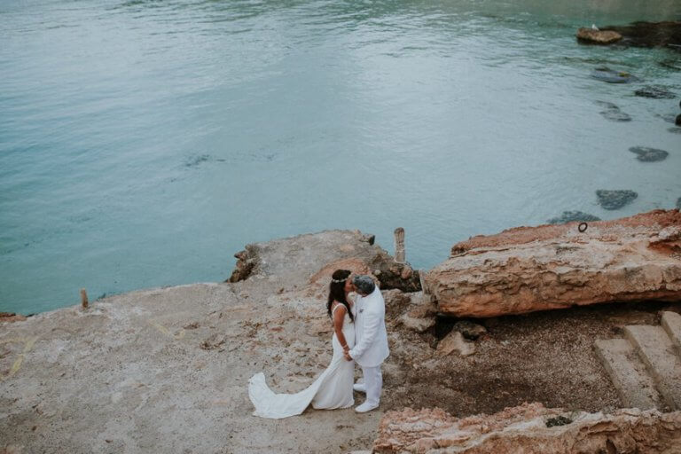 White wedding on Cala Compte beach